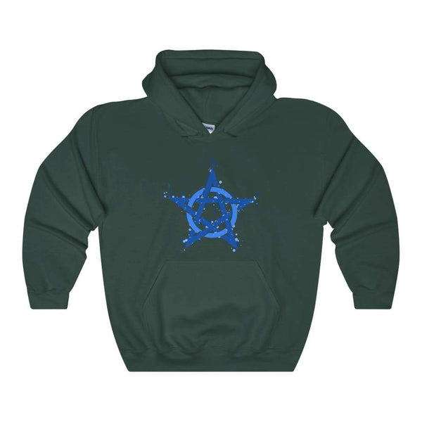 Blue Ink Style Pentagram Pentacle Wiccan Pagan Symbol Unisex Heavy Blend Hooded Sweatshirt - Forest Green / S - Hoodie