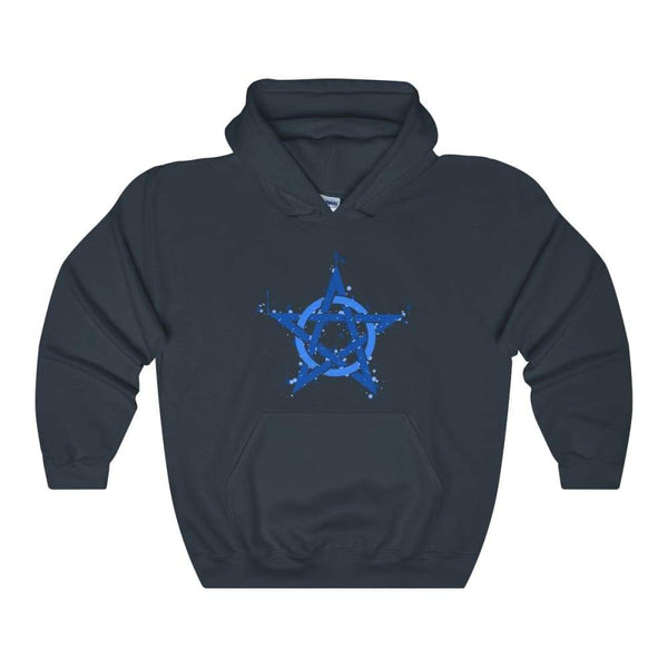 Blue Ink Style Pentagram Pentacle Wiccan Pagan Symbol Unisex Heavy Blend Hooded Sweatshirt - Navy / S - Hoodie