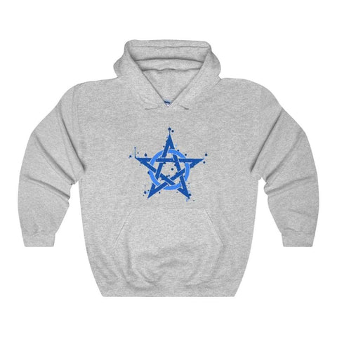 Blue Ink Style Pentagram Pentacle Wiccan Pagan Symbol Unisex Heavy Blend Hooded Sweatshirt - Sport Grey / L - Hoodie