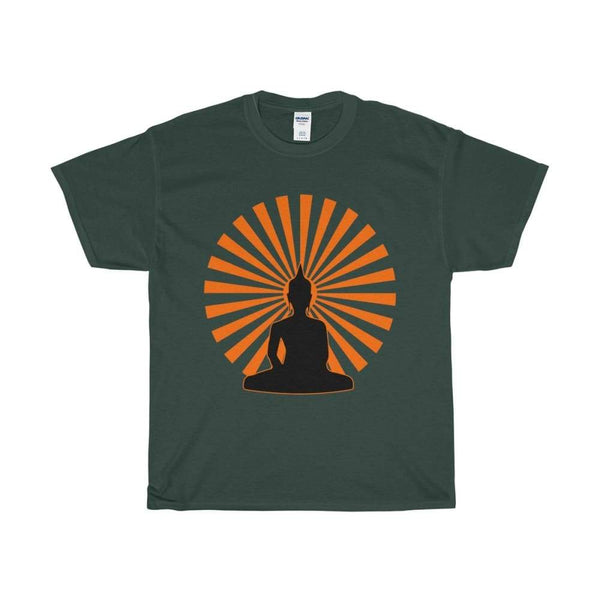 Buddha In The Enlightened Sun Yoga Pose Unisex Heavy Cotton Tee - Forest Green / S - T-Shirt