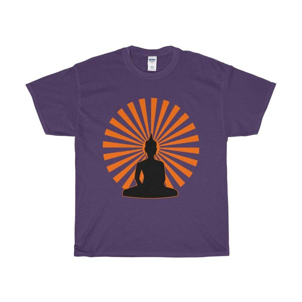 Buddha In The Enlightened Sun Yoga Pose Unisex Heavy Cotton Tee - Purple / S - T-Shirt