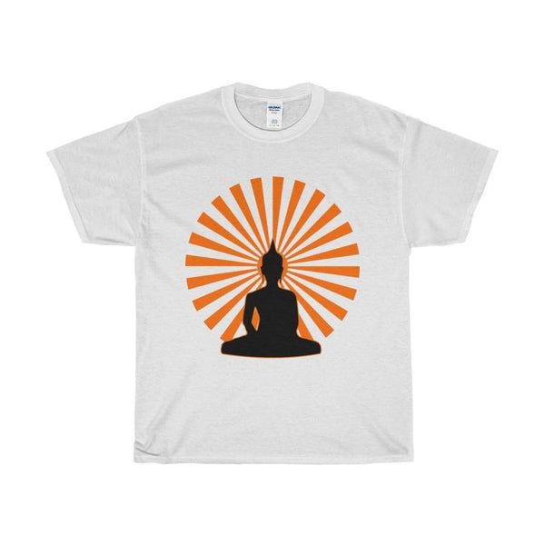 Buddha In The Enlightened Sun Yoga Pose Unisex Heavy Cotton Tee - White / L - T-Shirt