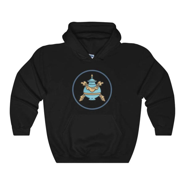 Buddhist Bumpa Base Spiritual Symbol Unisex Heavy Blend Hooded Sweatshirt - Black / S - Hoodie