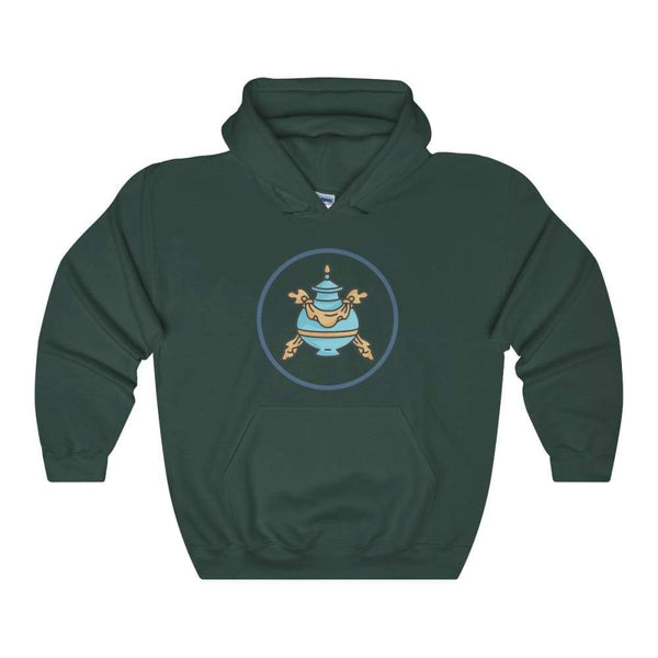 Buddhist Bumpa Base Spiritual Symbol Unisex Heavy Blend Hooded Sweatshirt - Forest Green / S - Hoodie