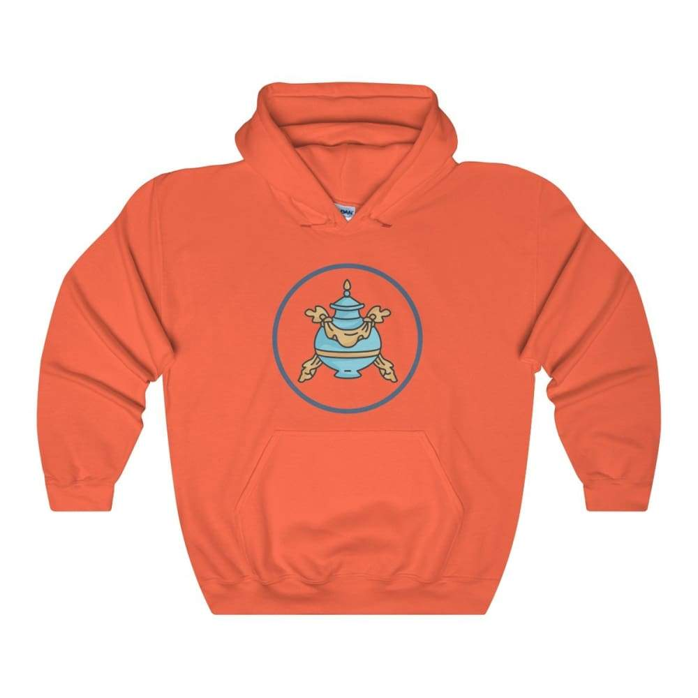 Buddhist Bumpa Base Spiritual Symbol Unisex Heavy Blend Hooded Sweatshirt - Orange / L - Hoodie