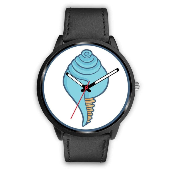 Buddhist Conch Shell Symbol Custom-Designed Wrist Watch - Mens 40Mm / Black Leather - Black Watch