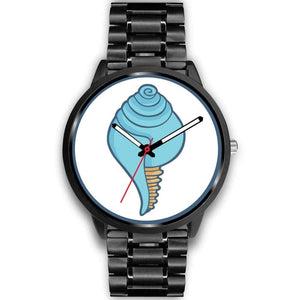 Buddhist Conch Shell Symbol Custom-Designed Wrist Watch - Mens 40Mm / Black Metal Link - Black Watch