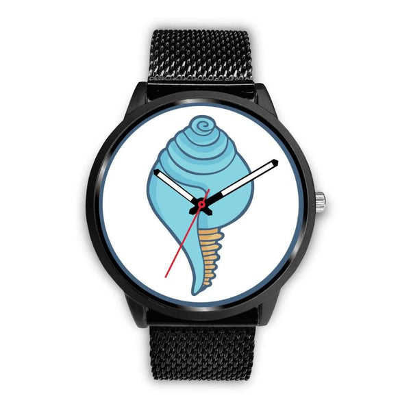 Buddhist Conch Shell Symbol Custom-Designed Wrist Watch - Mens 40Mm / Black Metal Mesh - Black Watch