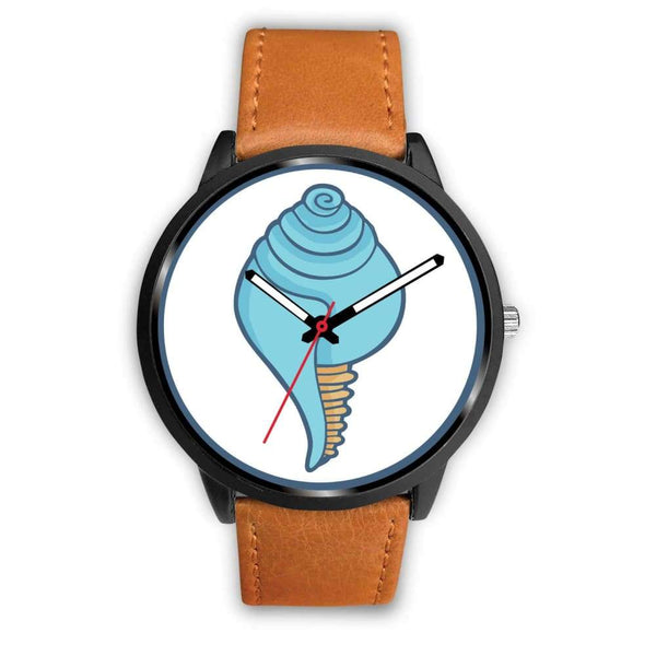 Buddhist Conch Shell Symbol Custom-Designed Wrist Watch - Mens 40Mm / Brown Leather - Black Watch
