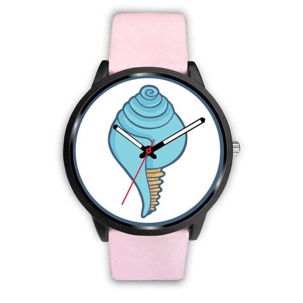 Buddhist Conch Shell Symbol Custom-Designed Wrist Watch - Mens 40Mm / Pink Leather - Black Watch