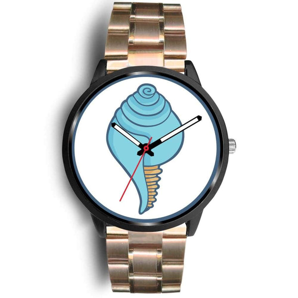 Buddhist Conch Shell Symbol Custom-Designed Wrist Watch - Mens 40Mm / Rose Gold Metal Link - Black Watch