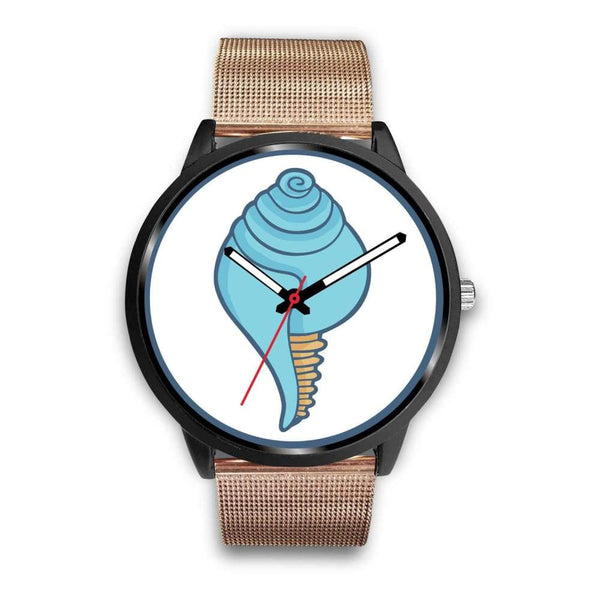 Buddhist Conch Shell Symbol Custom-Designed Wrist Watch - Mens 40Mm / Rose Gold Metal Mesh - Black Watch