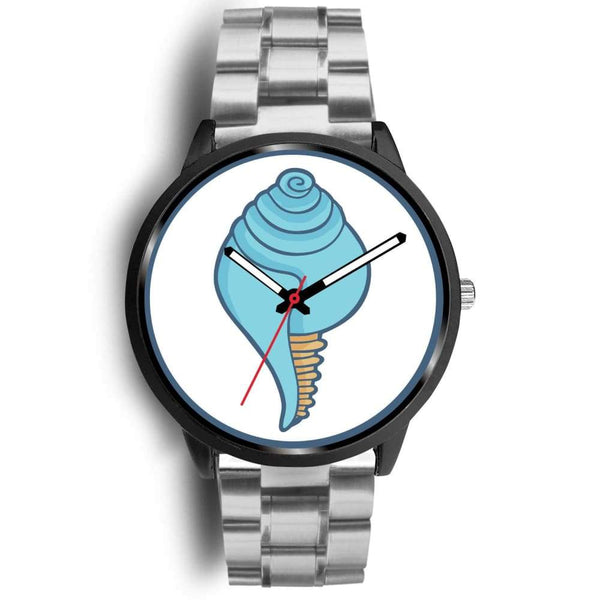 Buddhist Conch Shell Symbol Custom-Designed Wrist Watch - Mens 40Mm / Silver Metal Link - Black Watch