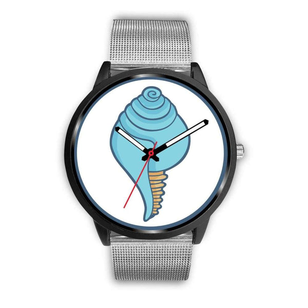 Buddhist Conch Shell Symbol Custom-Designed Wrist Watch - Mens 40Mm / Silver Metal Mesh - Black Watch