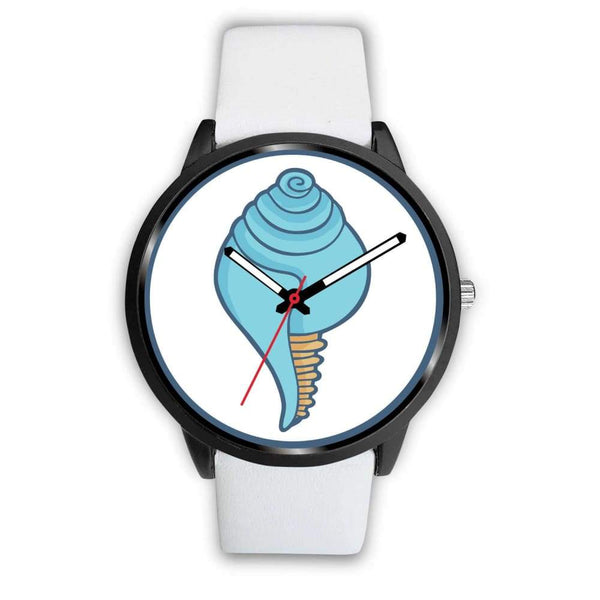Buddhist Conch Shell Symbol Custom-Designed Wrist Watch - Mens 40Mm / White Leather - Black Watch