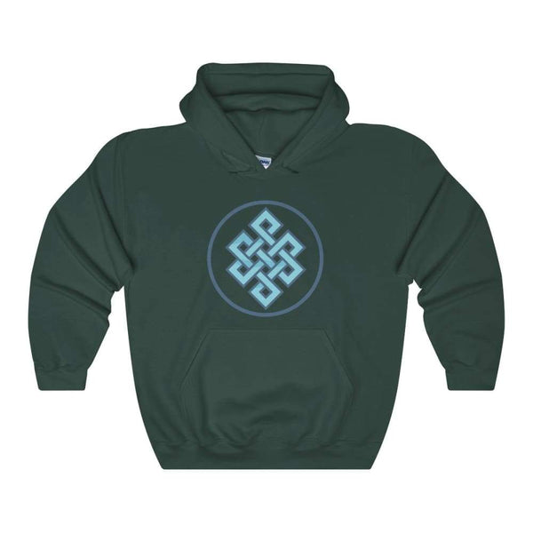 Buddhist Endless Knot Spiritual Symbol Unisex Heavy Blend Hooded Sweatshirt - Forest Green / S - Hoodie