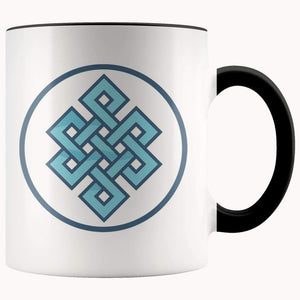 Buddhist Endless Knot Symbol 11Oz. Ceramic White Mug - Black - Drinkware