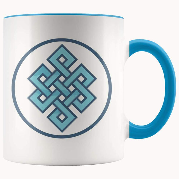 Buddhist Endless Knot Symbol 11Oz. Ceramic White Mug - Blue - Drinkware