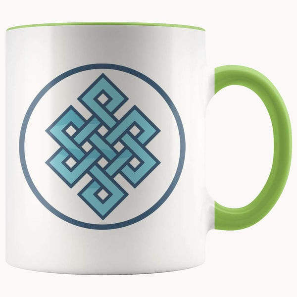Buddhist Endless Knot Symbol 11Oz. Ceramic White Mug - Green - Drinkware
