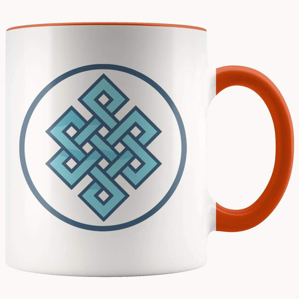 Buddhist Endless Knot Symbol 11Oz. Ceramic White Mug - Orange - Drinkware