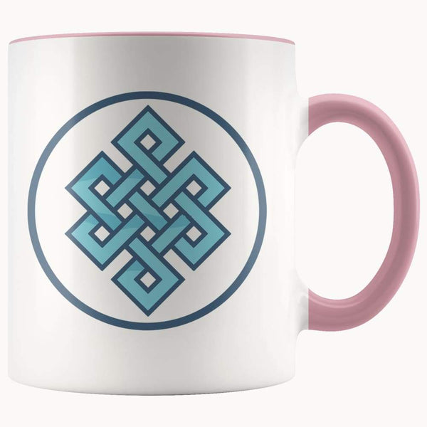 Buddhist Endless Knot Symbol 11Oz. Ceramic White Mug - Pink - Drinkware