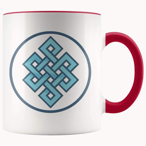 Buddhist Endless Knot Symbol 11Oz. Ceramic White Mug - Red - Drinkware