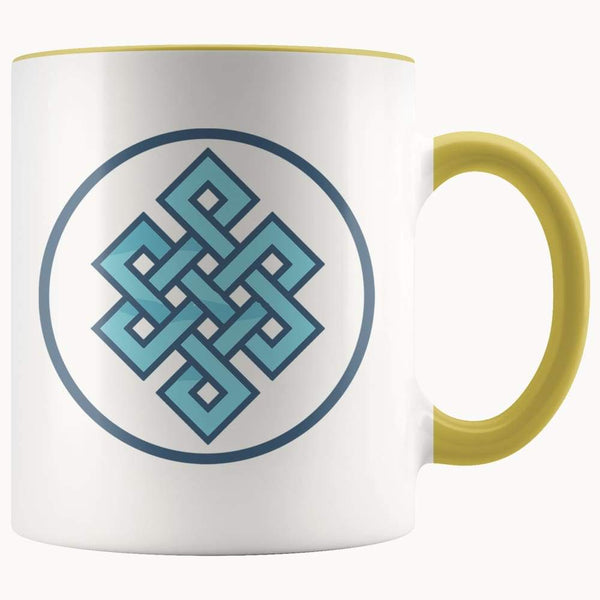 Buddhist Endless Knot Symbol 11Oz. Ceramic White Mug - Yellow - Drinkware