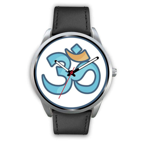 Buddhist Hindu Spiritual Om Symbol Custom-Designed Wrist Watch - Mens 40Mm / Black Leather - Silver Watch