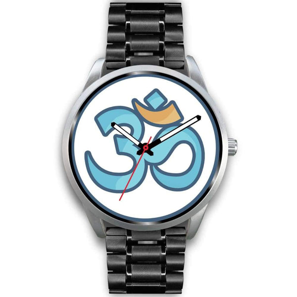 Buddhist Hindu Spiritual Om Symbol Custom-Designed Wrist Watch - Mens 40Mm / Black Metal Link - Silver Watch