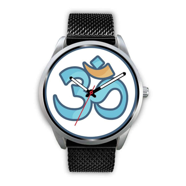 Buddhist Hindu Spiritual Om Symbol Custom-Designed Wrist Watch - Mens 40Mm / Black Metal Mesh - Silver Watch