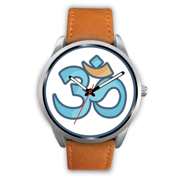 Buddhist Hindu Spiritual Om Symbol Custom-Designed Wrist Watch - Mens 40Mm / Brown Leather - Silver Watch