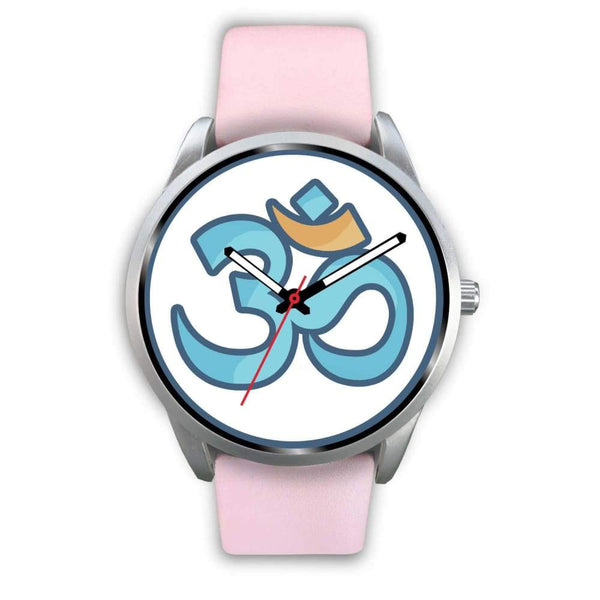 Buddhist Hindu Spiritual Om Symbol Custom-Designed Wrist Watch - Mens 40Mm / Pink Leather - Silver Watch