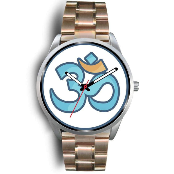 Buddhist Hindu Spiritual Om Symbol Custom-Designed Wrist Watch - Mens 40Mm / Rose Gold Metal Link - Silver Watch