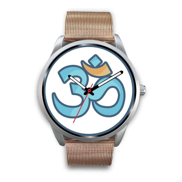 Buddhist Hindu Spiritual Om Symbol Custom-Designed Wrist Watch - Mens 40Mm / Rose Gold Metal Mesh - Silver Watch