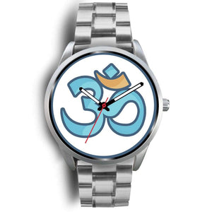 Buddhist Hindu Spiritual Om Symbol Custom-Designed Wrist Watch - Mens 40Mm / Silver Metal Link - Silver Watch