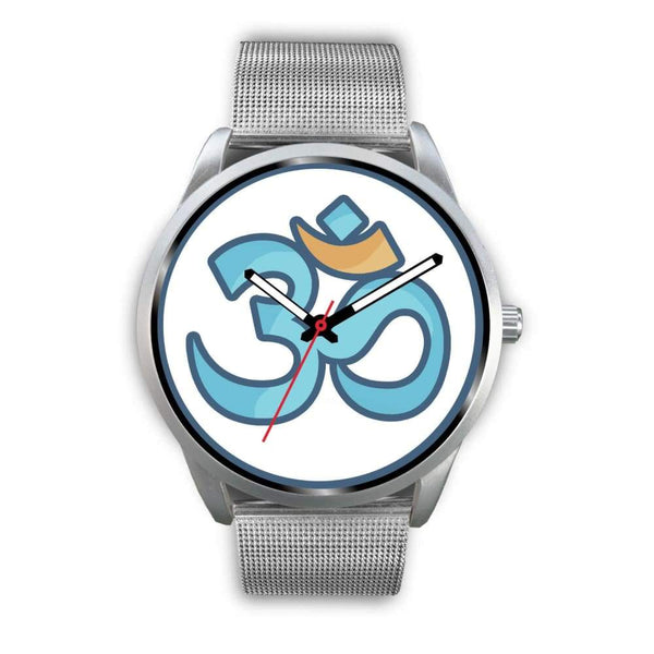 Buddhist Hindu Spiritual Om Symbol Custom-Designed Wrist Watch - Mens 40Mm / Silver Metal Mesh - Silver Watch