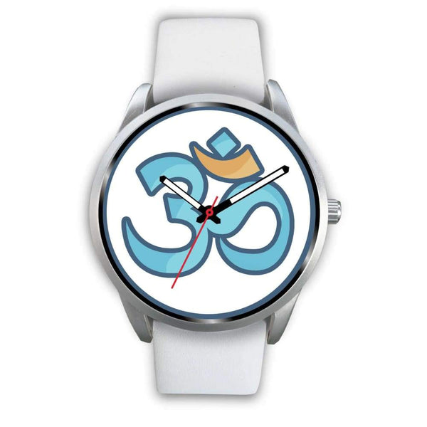 Buddhist Hindu Spiritual Om Symbol Custom-Designed Wrist Watch - Mens 40Mm / White Leather - Silver Watch