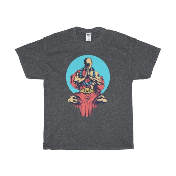 Buddhist Monk In Blue Moon Yoga Pose Unisex Heavy Cotton Tee - Dark Heather / S - T-Shirt