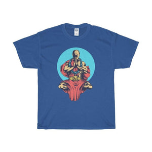 Buddhist Monk In Blue Moon Yoga Pose Unisex Heavy Cotton Tee - Royal / L - T-Shirt