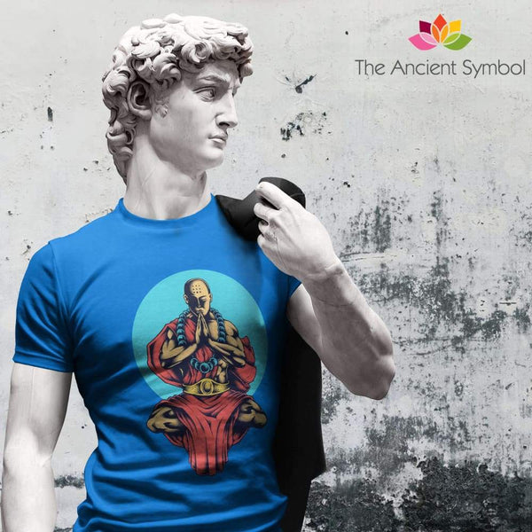 Buddhist Monk In Blue Moon Yoga Pose Unisex Heavy Cotton Tee - T-Shirt