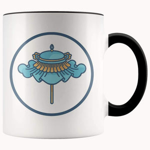 Buddhist Parasol Umbrella Chatra Symbol 11Oz. Ceramic White Mug - Black - Drinkware