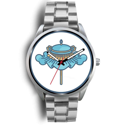 Buddhist Parasol Umbrella Symbol Custom-Designed Wrist Watch - Mens 40Mm / Silver Metal Link - Silver Watch