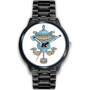 Buddhist Victory Banner Custom-Designed Wrist Watch - Mens 40Mm / Black Metal Link - Black Watch