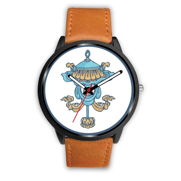 Buddhist Victory Banner Custom-Designed Wrist Watch - Mens 40Mm / Brown Leather - Black Watch