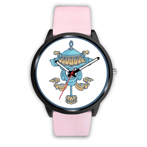 Buddhist Victory Banner Custom-Designed Wrist Watch - Mens 40Mm / Pink Leather - Black Watch