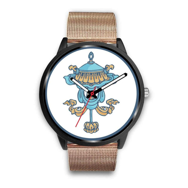 Buddhist Victory Banner Custom-Designed Wrist Watch - Mens 40Mm / Rose Gold Metal Mesh - Black Watch