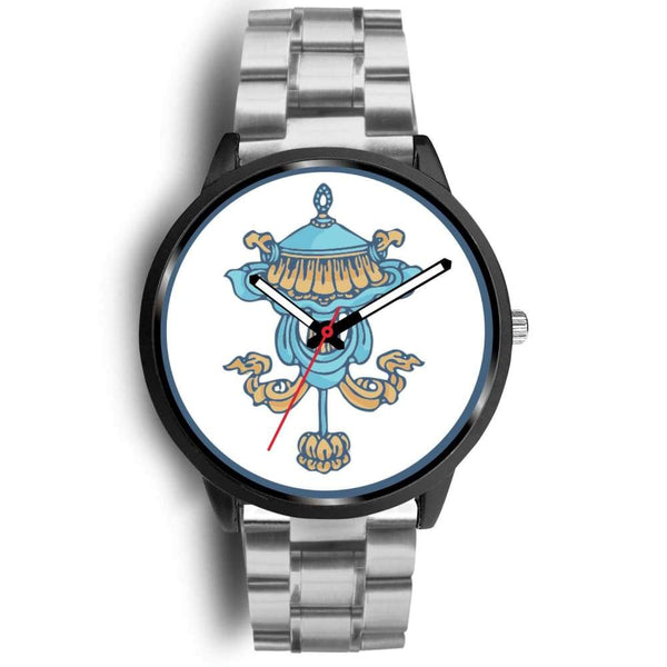 Buddhist Victory Banner Custom-Designed Wrist Watch - Mens 40Mm / Silver Metal Link - Black Watch