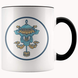 Buddhist Victory Banner Symbol 11Oz. Ceramic White Mug - Black - Drinkware