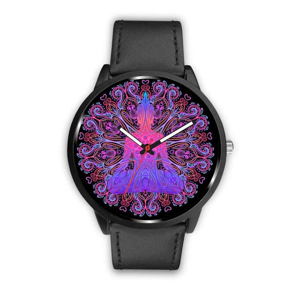Buddhist Yoga Style Ornate Geometric Pattern Custom-Designed Wrist Watch - Mens 40Mm / Black - Watch