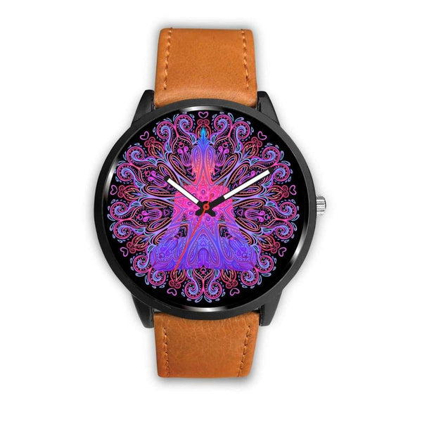 Buddhist Yoga Style Ornate Geometric Pattern Custom-Designed Wrist Watch - Mens 40Mm / Brown - Watch